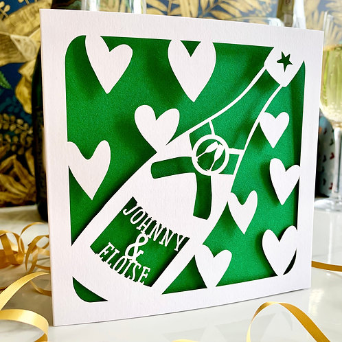 Personalised Couple Champagne Bottle Card
