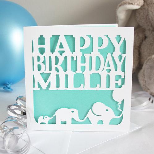 Personalised Elephants Birthday Card