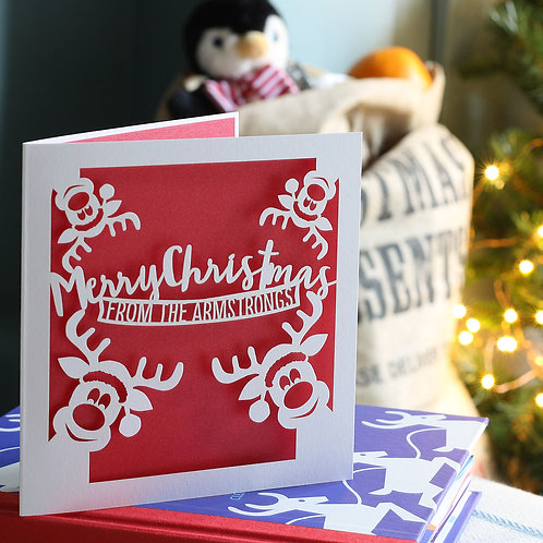 Personalised Reindeer Family Christmas Card