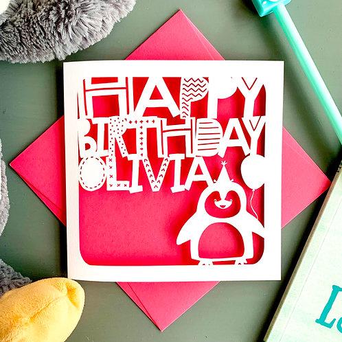 Personalised Penguin Birthday Card