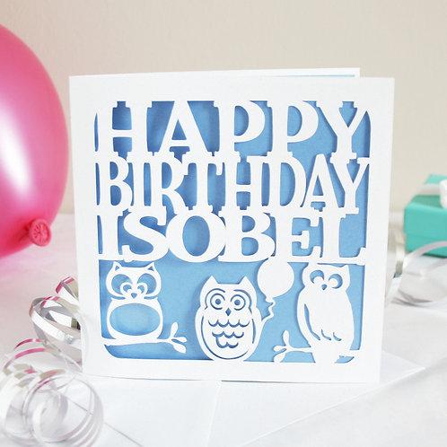 Personalised Owls Birthday Card