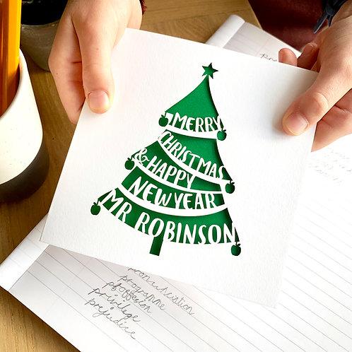 Personalised Teacher's Christmas Card