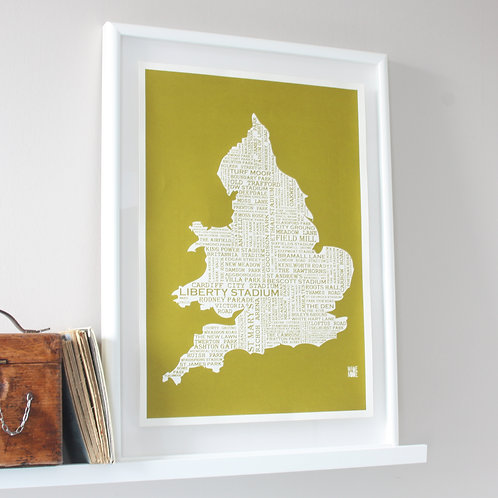 Football Grounds Map Print