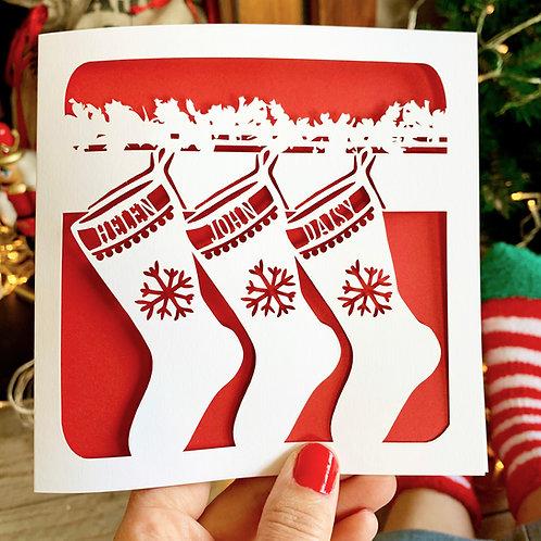Personalised Stockings Christmas Card