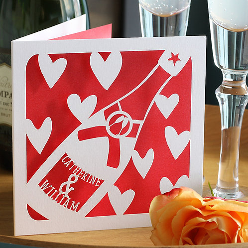 Personalised Champagne Bottle Card