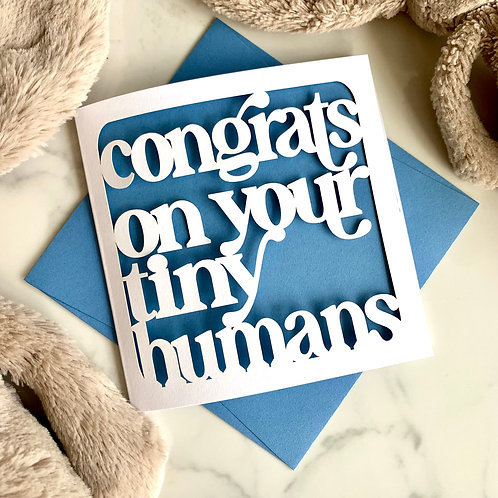Tiny Humans New Baby Twins Card