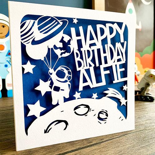 Personalised Space Birthday Card