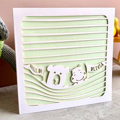Personalised New Baby Peeping Bears Card