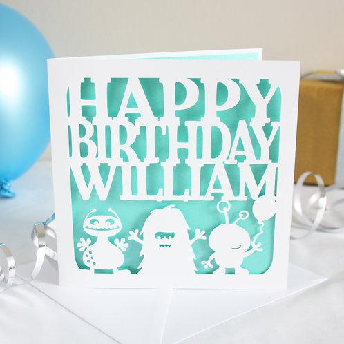 Personalised Monsters Birthday Card