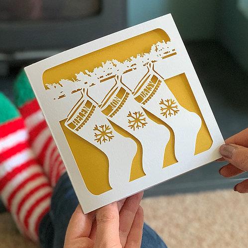 Personalised Christmas Stockings Card