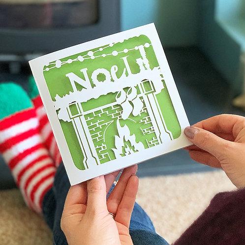 Fireplace Christmas Card