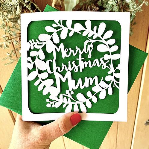 Personalised Wreath Christmas Card