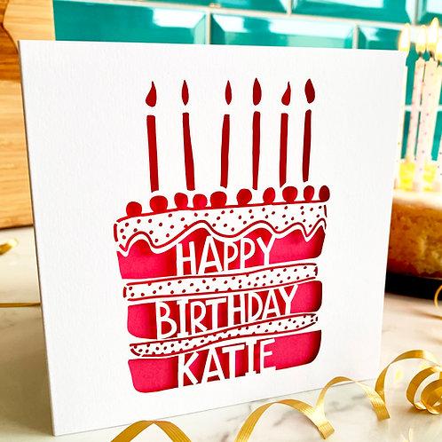 Personalised Birthday Cake Card