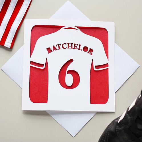 Personalised Football Shirt Birthday Card