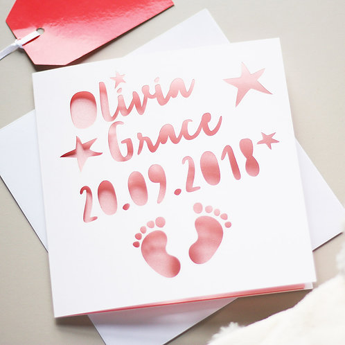 Personalised New Baby Footprints Card
