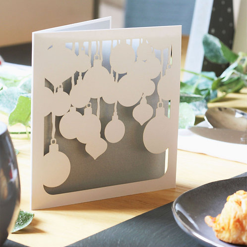 Baubles Papercut Christmas Card