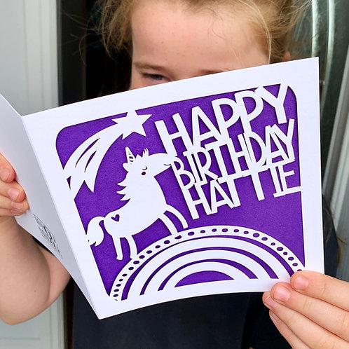Personalised Unicorn Birthday Card