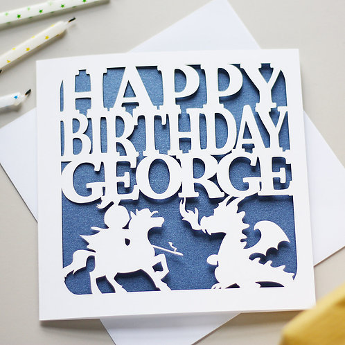 Personalised Knights & Dragons Birthday Card