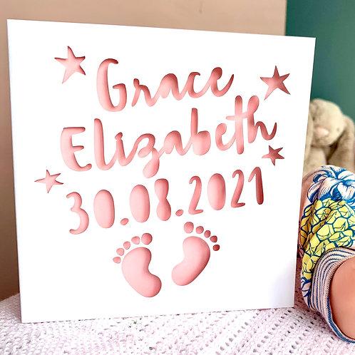 Personalised New Baby Footprints Card