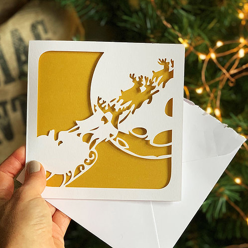 Sleigh Papercut Christmas Card