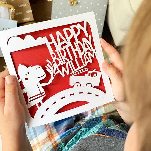 Personalised Dino Fireman Birthday Card