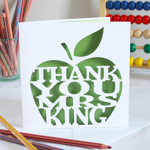 Personalised Teacher's Apple Thank You Card