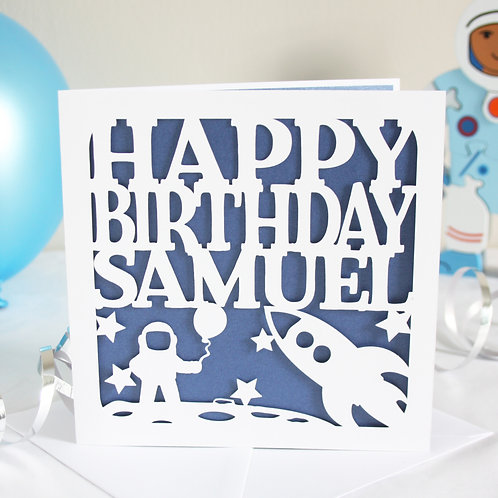 Personalised Space Rocket Birthday Card