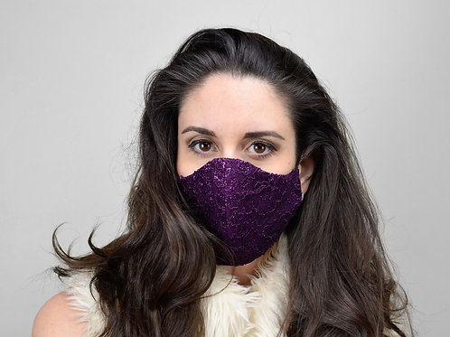 Purple lace face mask with metallic threads