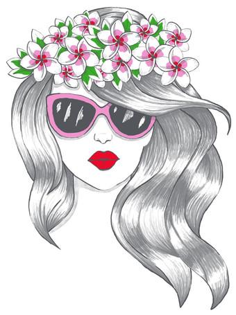 Red Lips Girl, illustration