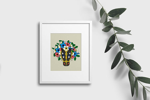 Macho Raton and flowers, digital download art print