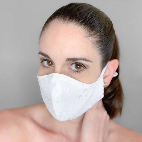 Washable and reusable face cover - White