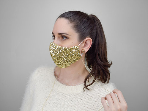Gold sequins embroidered face mask with mask chain