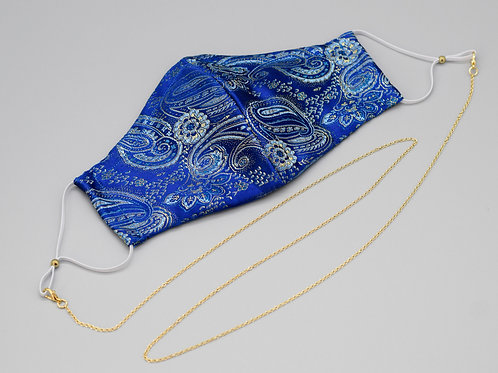 Blue paisley silk brocade face mask with gold mask chain