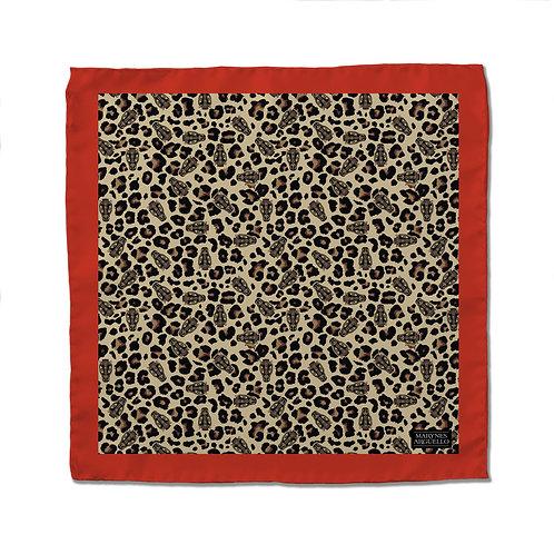 Silk Scarf - Cheetah Print Red - 50cm x 50cm