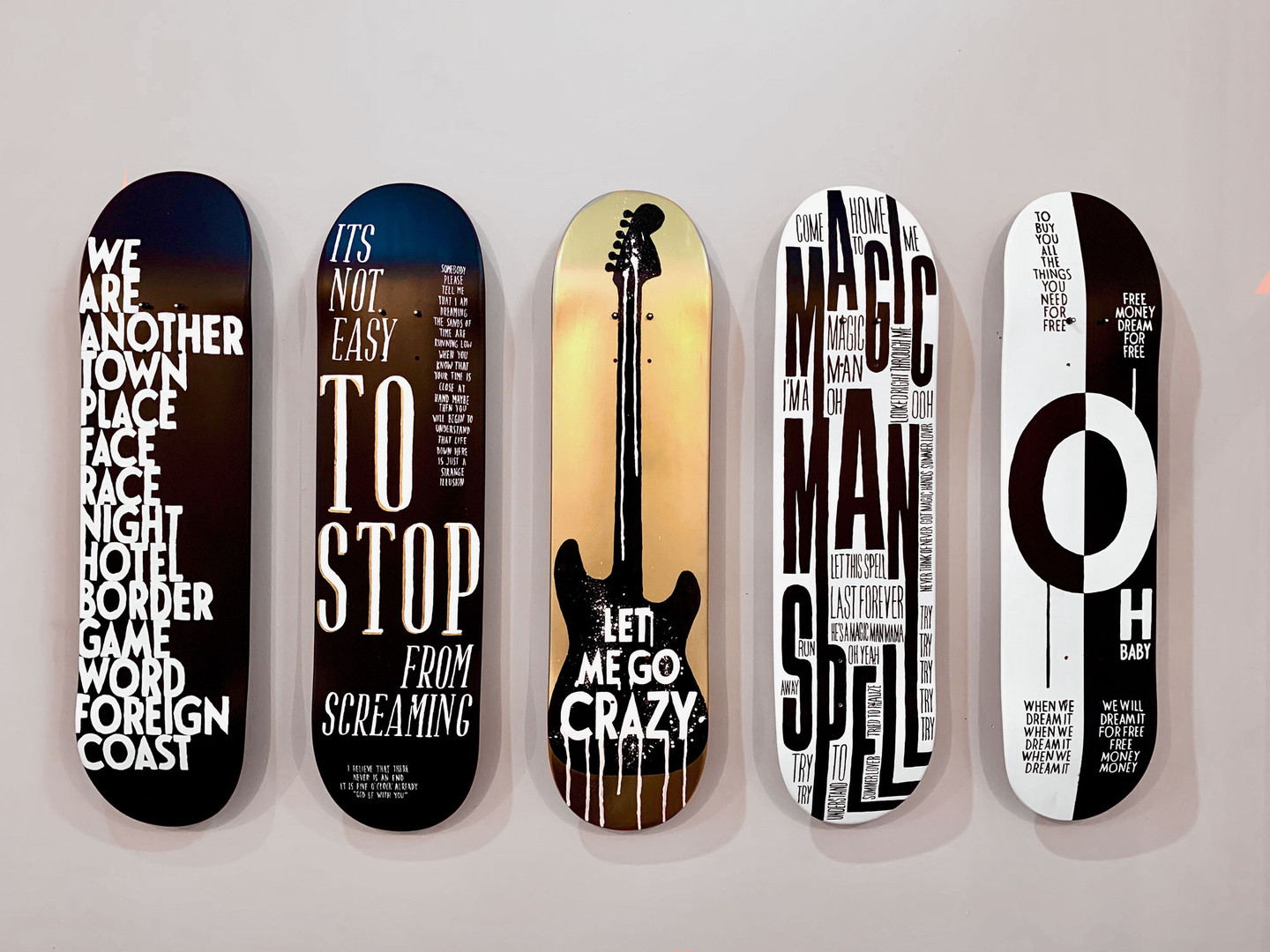 handpainted decks displayed at The Wynwood Shop