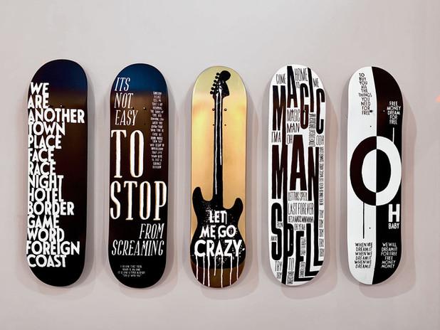 handpainted decks displayed at The Wynwood Shop
