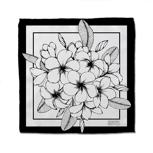 Silk Scarf - Black and White - 50cm x 50cm