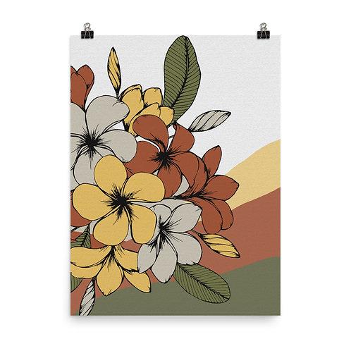 Poster, plumeria flowers in warm tones