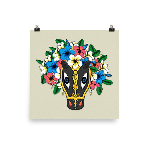 Poster - Macho Raton with flower crown