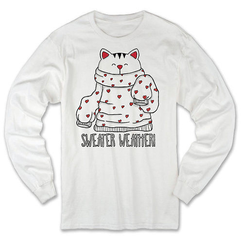 Sweater Weather Cat Long SleeveTee