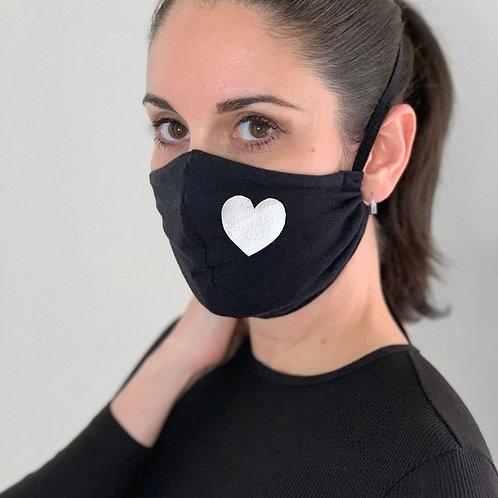 Face Mask - White heart