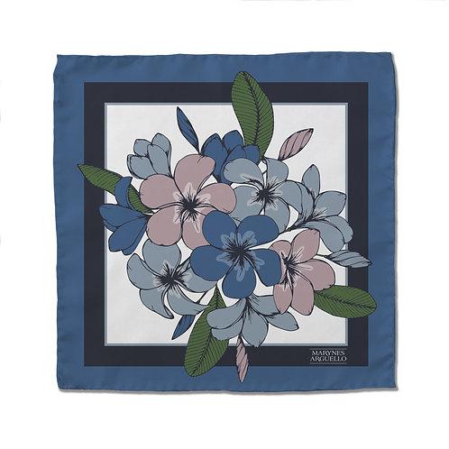 Silk Scarf - Blue Flowers - 50cm x 50cm