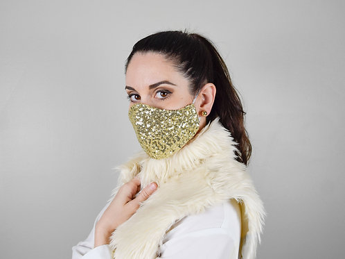 Gold sequins embroidered face mask