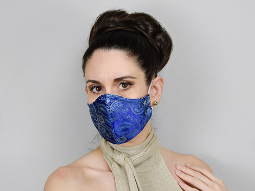 Blue paisley silk brocade face mask, 3 layers filter pocket.
