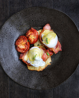 boxty benedict - dry cured bacon, hollan