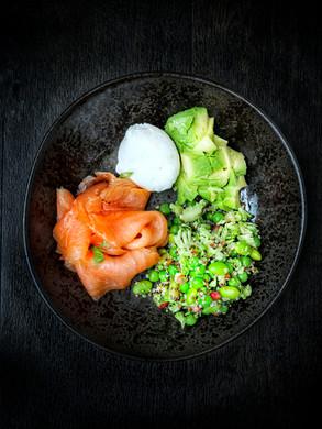 smoked salmon poke bowl - quinoa, smoked