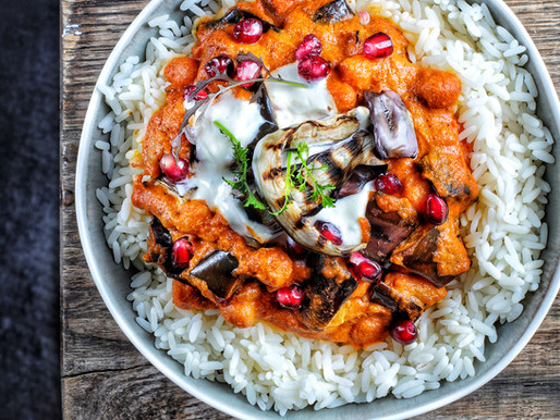 Aubergine and chickpea tikka masala