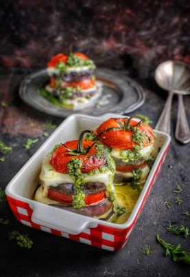 oven roasted aubergine, tomato, mozzerel