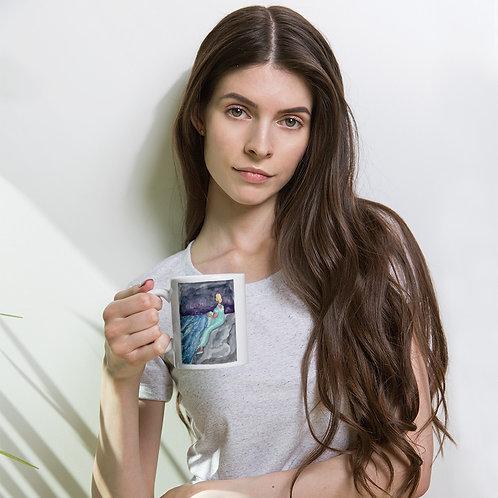 Stormy Sea White glossy mug