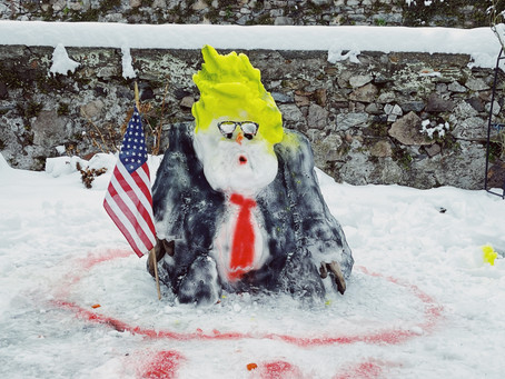 Trump as a snowman artistic performance at CasaGalleria in Rovio Switzerland